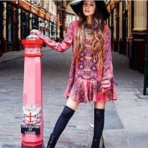 Free people sweet talker red floral tunic dress